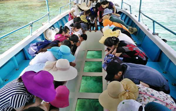 Tàu đáy kính ngắm san hô ở Hòn Mun